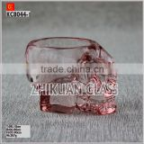 New Products In Market Glass cup/ hot sales design Hand press Halloween Small Skull Glass Candle Holder Tea Light