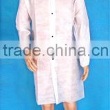Disposable PP Non woven white /blue Lab Coat/visitor with elastic cuff &4 studs single collar