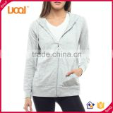 Guangzhou Luoqi Custom Made Women Fashion Long Sleeve Plain Grey Zipper-Up Jersey Hoody Jacket