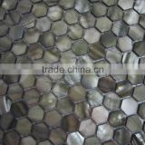 Colored hexagonal Dark Gray River shell mosaic tile, backsplash mosaic tile,bathroom wall tile
