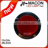 4 inch Round LED Light Stop/Tail/Turn, Flange Mount w/Reflex Ring round led truck tail lamps