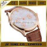 rose gold tone floral dial face leather strap luxury women watch stainless stel back case