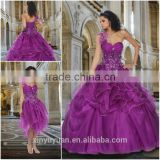 Latest Designer Ball gown Sweetheart Purple one shoulder Western Detachable Quinceanera Dresses with detachable skirt CYQ-003