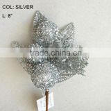 "Popular Artificial Christmas Silver Flower Pick 8"" Artificial Fruit Ball Flower With Berries"