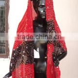 Red & black Bandhage Dupatta , indian ethnic wear neckwear & headwear for womens