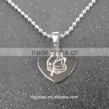 Mens Stainless Steel Heart Shaped Dog Tag Necklace Pendant Blank, Laser Engrave Logo Customize