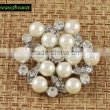 Beautiful White Fancy Metal Plated Sliver Pearl Brooches For Wedding Bridal J032157