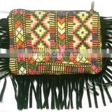 Tribal vintage banjara art clutch purse and beautiful leather fringes multi color embroidery Hippie Gypsy small wallet