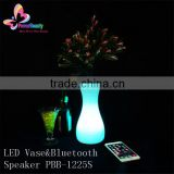 2015 wholesale high quality music hifi waterproof wireless portable crystal plastic flower vase with led light bluetooth speaker