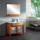 Brown Color Bathroom Vanity with Frost Glass Doors