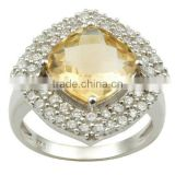 Cushion Cut Citrine Silver Ring, Cubic Ziconia Silver Ring, 925 Sterling Silver Citrine CZ Ring