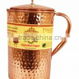 IndianArtVilla Pure Copper Hammered Jug Pitcher with Lid 2100 ML - Storage Drinking Water Home Hotel Restaurant Benefit Yoga
