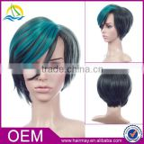 Low price good quality bobo design synthetic hair monofilament short green ombre wig
