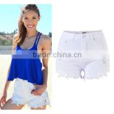 2016 Summer Fashion Women Slimming Ripped Short Jeans Ladies White Lace Patchwork Tassel Fringed High Waist Beach Shorts