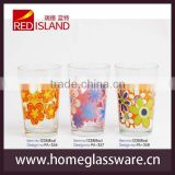 The classic pattern design wholesale 8oz drinking glass cup with frosted flower decoration