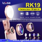 Wholesale Beauty RK19 selfie ring light Mobile phone 2 in 1 fisheyes lens Led fill light