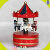 wholesale baby wooden toy carousel music box christmas gift kids wooden toy carousel music box W07B009C