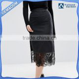 wholesale china manufacturer washed black denim skirt with lace hemp split sides dresses women