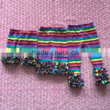 hot sale factory direct sale rainbow stripe triple icing ruffled petti shorts capris leggings