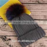 Wholesale Beanie Hats with raccoon fur ball for women winter