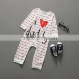 Cute 100% Cotton Baby Boys Gender and Knitted Type Long Sleeve Baby Rompers Sets Soft I Love Daddy Baby Pajamas