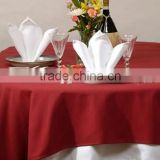 White Spun Polyester napkin and red spun poly table topper