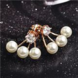 Gold Plated AAA Zicron White Imitation Pearl Front & Back Bundle Cuffs Earring Jackets Ear Studs Earbuds Ear Clips