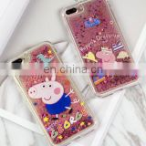 Cute Peppa Pig Glitter quicksand Cases for iphone Dynamic liquid Soft silicon Case For iphone 6 6s 6Plus 7 7p