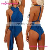 Fashion Attractive Blue High Cut Sexy One Piece Swimsuit
