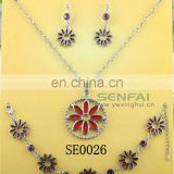 Big Fashion Circular Jewelry Sets With Red Color Flower Charms
