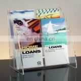 Fashion clear 4 compartments PMMA brochure display rack plexiglass brochure display holder Acrylic brochure display stand