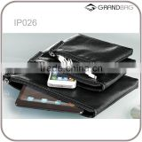 Hot selling set of 3 zip leather trave pouch for ipad and for iphone leather travel cases