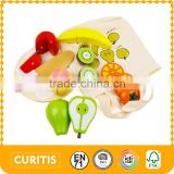 2015 High Quality Wooden Kitchen Toy Fruit Cut Toy For Children Colorful Baby Kitchen Toy