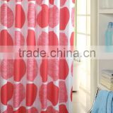 2016 new design high quality waterproof polyester red bubble printed shoer curtain for hotel family