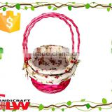 woodchip&wicker material gift basket type, fruit basket, holiday basket, wedding basket decoration with cloth liner