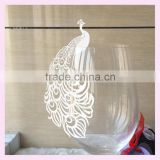 Assorted Colors Wedding Party Decoration Butterfly Shape Wine Glass Cup Card luxury phoenix design