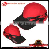 High quality red button hook and loop back soft baseball caps flames baseball cap