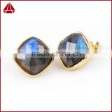 12mm Square Gold Plated Natural Faceted Labradorite Gemstone Stud