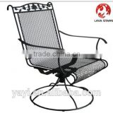 Wrought Iron High Back SWIVEL ROCKER Chair Steel,e-coating patio furniture