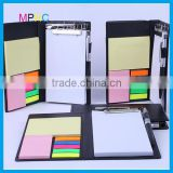 High Quality Promotional Gift PU leather Cover Sticky Note Memo Pad Manager Case with pen