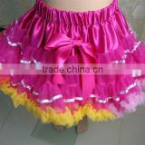 Wholesale baby ballet tutu skirt hot pink ribbon pettiskirt for girls