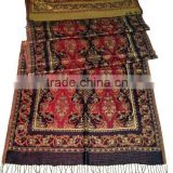 High Quality rayon jacquard scarf size 70x200 cms with 2 sides hand knotted fringes