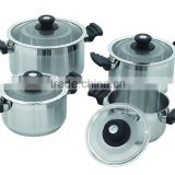 8pcs set stainless steel cooking pot double sided deep grill frying pan