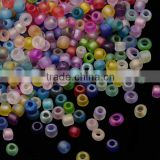 8/0 Mixed Frosted Clear Glass Seed Beads, AB Color, 2.0~3.0mm, about 15000pcs/pound(SEED-A015-8-FM)