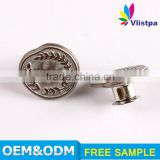 Hot sale bronze style embossed logo vintage metal shank jeans button