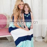 Wholesale Newborn 100% Cotton Lace Chevron Boutqiue Mommy And Me Maxi Dresses