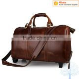 High quality camel travel bag and the men leather luggage with telescoping handle