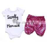 newborn baby clothes baby bodysuit with capri in set Mermaid outfits