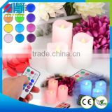 2015 Top Selling Color Changing Flameless Led Candle Set Of 3 led candle with Remote and Timer