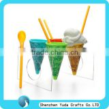 U shape cone display with handle plastic ice cream cone holders acrylic ice cream cone stand
